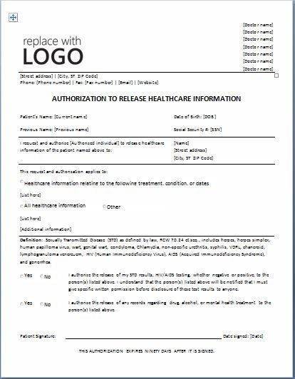 Sample Medical Authorization Form Templates | Printable Medical ...