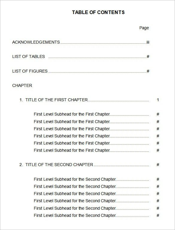 Table of Contents – 22+ Free Word, PDF Documents Download | Free ...