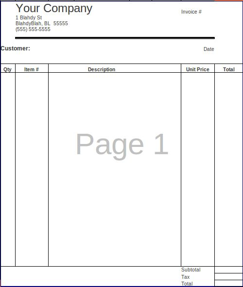 FossFolks.com » Small Business Invoice Spreadsheet