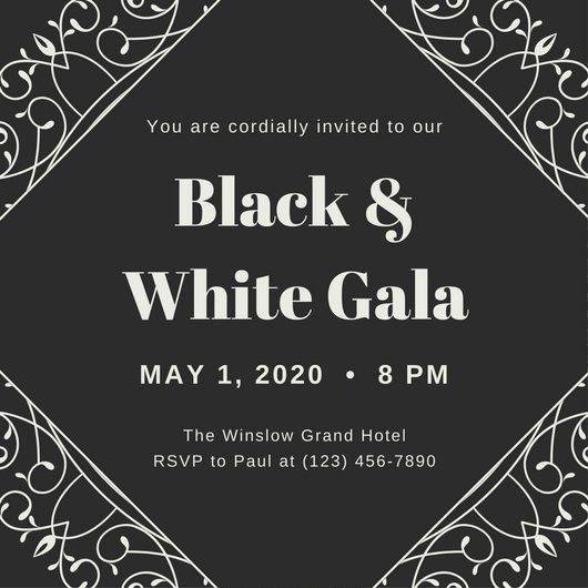 Black and White Swirls Gala Invitation - Templates by Canva