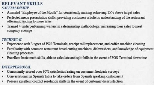 example skills section on resume professional objective resumes ...