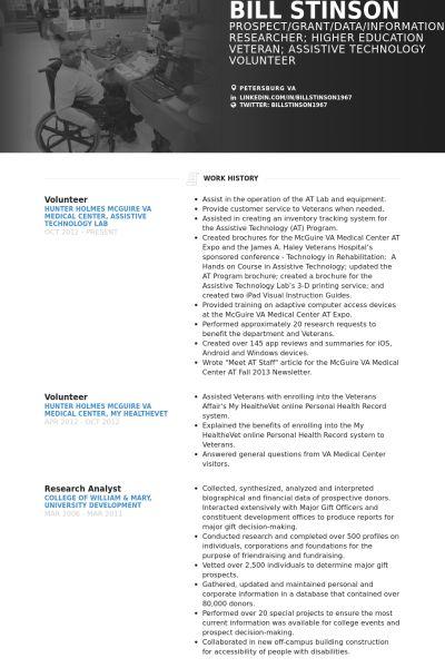 Volunteer Resume samples - VisualCV resume samples database