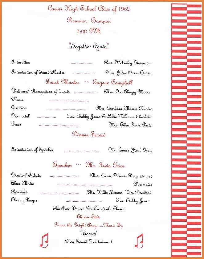 Family Reunion Program Templates | Weekly Schedule Excel Template