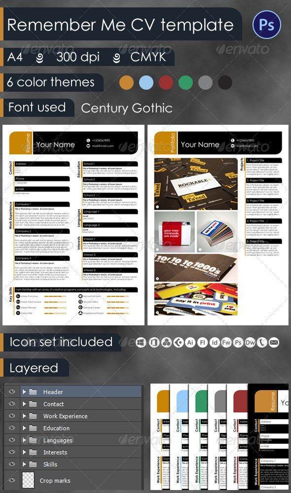 Remember Me Resume Template + Mini Portfolio   Minis, Icon set and ...