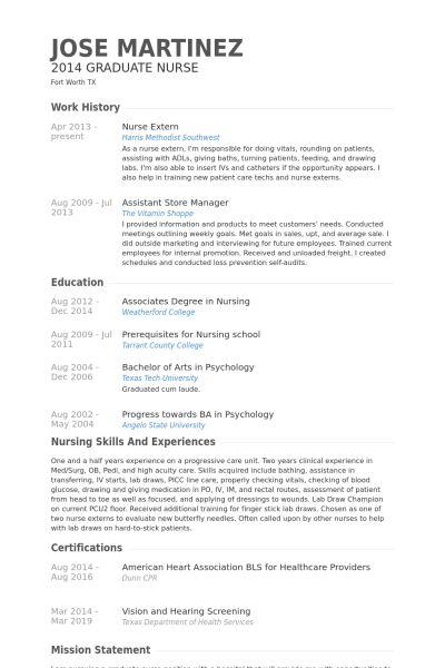 Nurse Extern Resume samples - VisualCV resume samples database