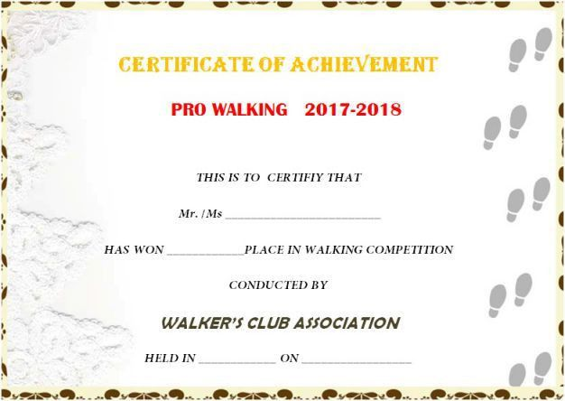 Stunning 25 Walking Certificates (Editable Word Templates for ...