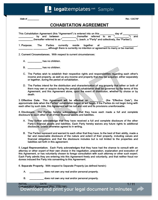 Cohabitation Agreement | Legal Templates