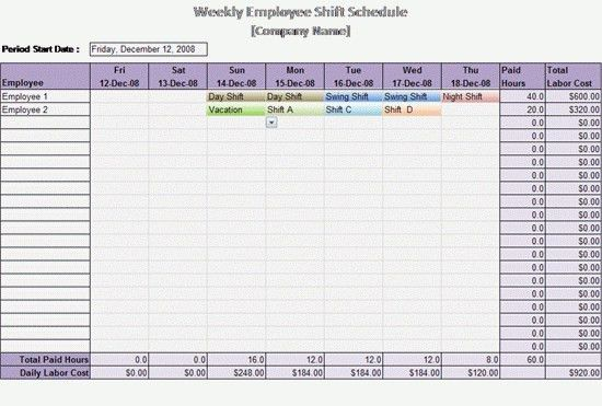 Employee Schedule Template | ebook