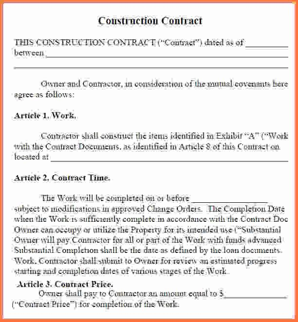 Simple Construction Contract.construction Contract1.jpg - Sales ...