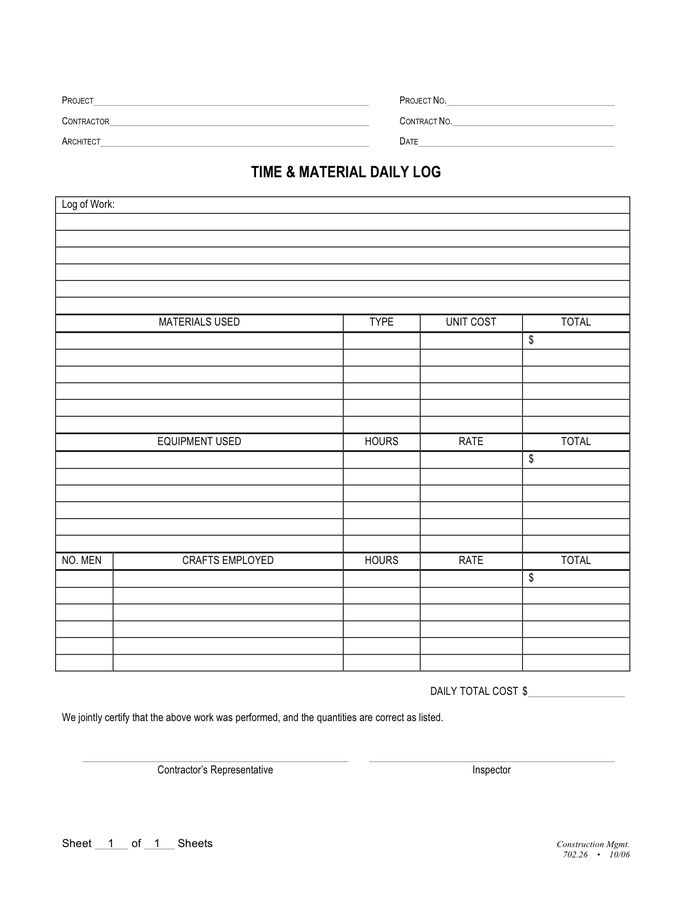 Time and material daily log in Word and Pdf formats