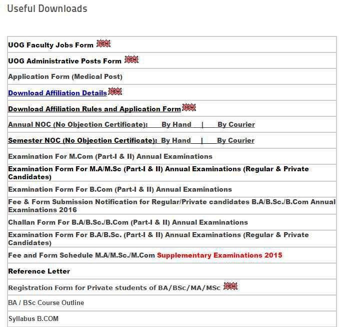 University of Gujrat NOC Form Download - 2017-2018 StudyChaCha