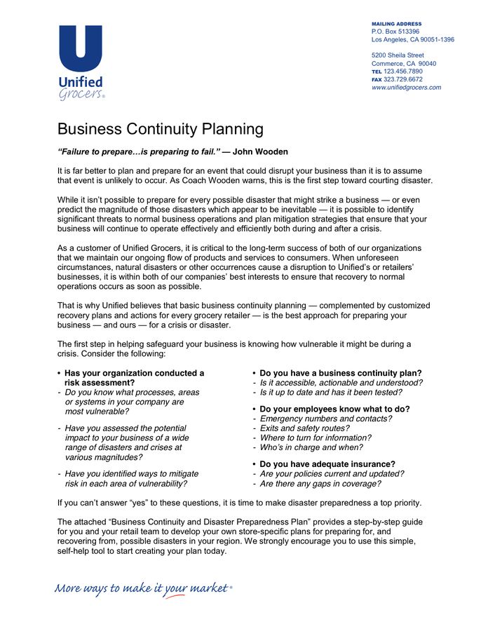 Retailer Business Continuity Plan Template in Word and Pdf formats
