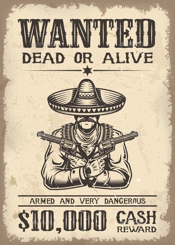 18+ Western Wanted Poster Templates – Free Printable, Sample ...