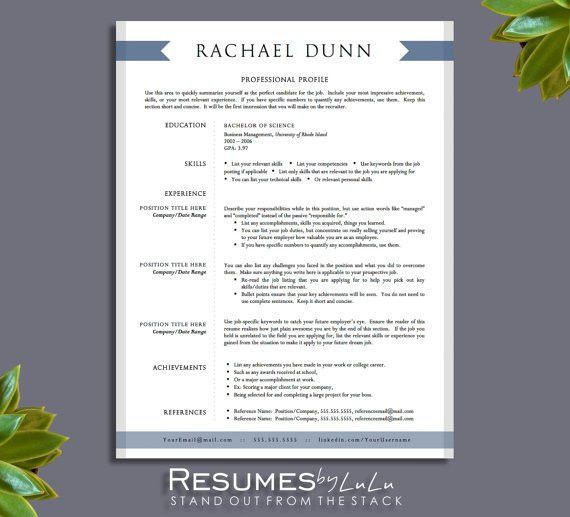 1 and 2 page Resume Template for Word and Pages + Cover Letter ...