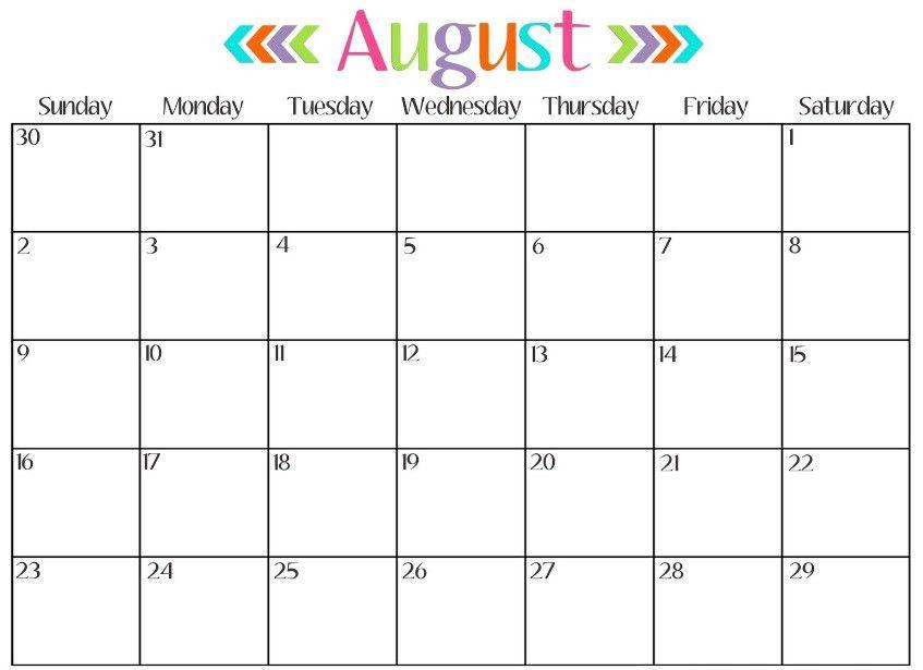 Free August 2017 Printable Calendar | Printable Calendar 2017 ...