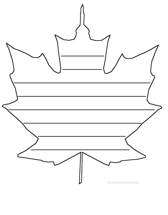 Maple Leaf With Writing Lines Template | School Stuff | Pinterest ...
