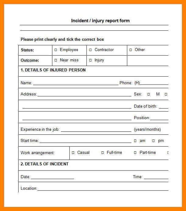 Accident Report Template. Employee Incident Report Sample Sample ...