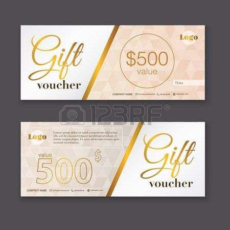 Gift Voucher Template With Gold Pattern, Gift Certificate ...