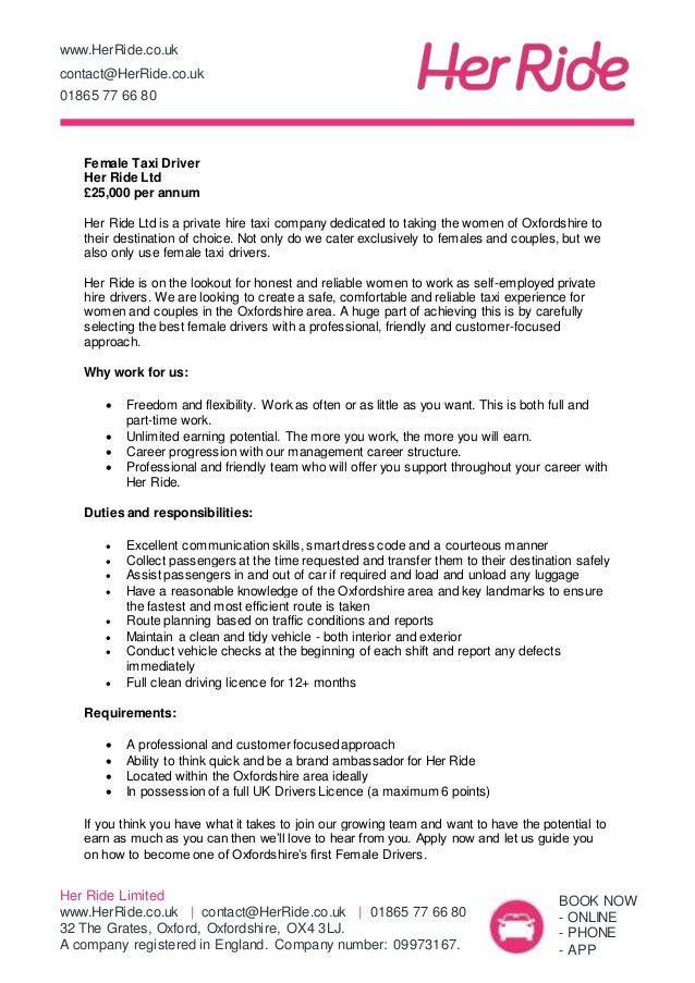 Female Taxi Driver Job Description