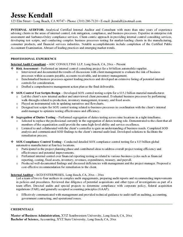 Example Internal Auditor Resume - Free Sample