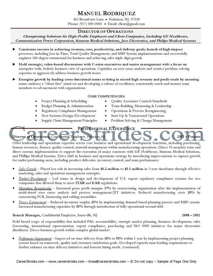 sample resume for director of operations operations manager cv