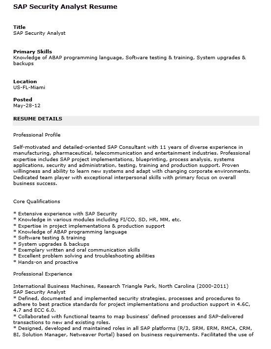 sap analyst resume