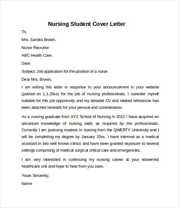 Vibrant Nursing Student Cover Letter 10 New Grad Nurse Cover ...