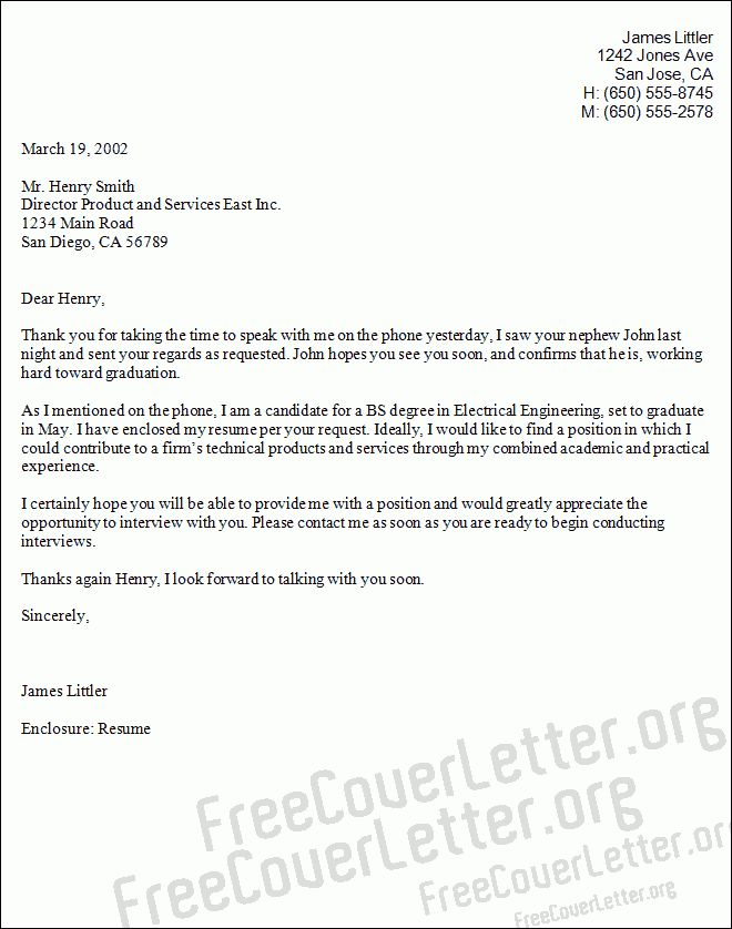 Example Cover Letter for Electrical Engineer Example Cover Letter ...