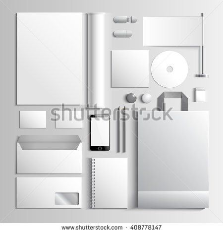 Corporate Identity Template White Mockup Vector Stock Vector ...