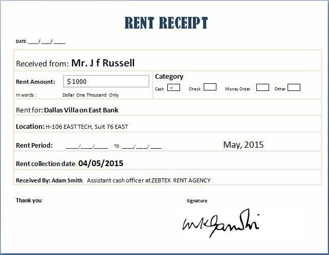 Rent Receipt Templates for MS Word & Excel | Receipt Templates