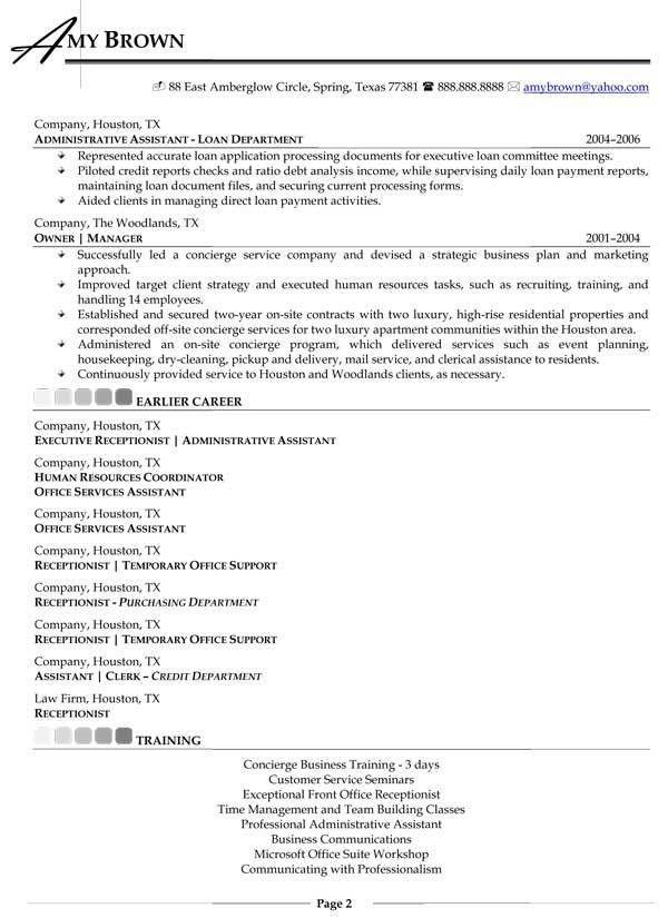Residential Concierge Resume Sample #5601