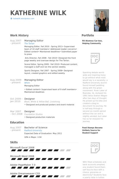 Managing Editor Resume samples - VisualCV resume samples database