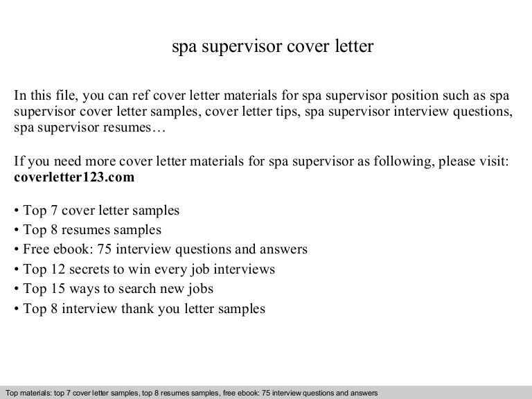Spa supervisor cover letter
