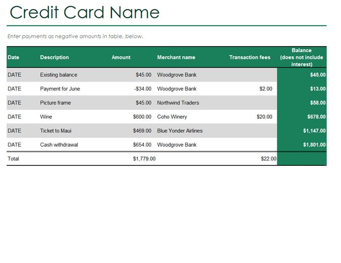 Credit card log - Office Templates