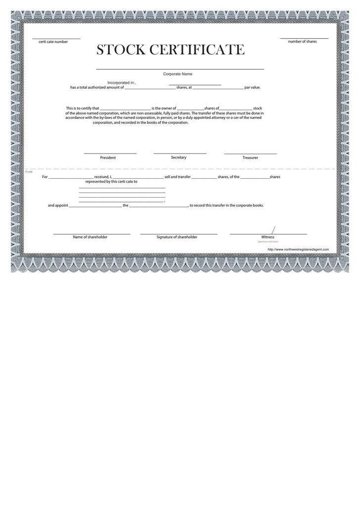 Shareholder Certificate Template