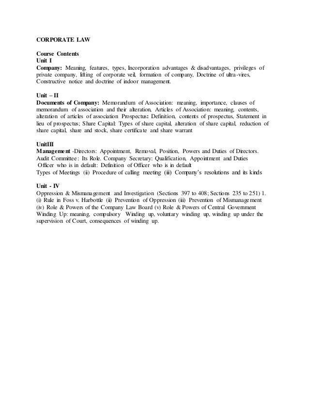 CORPORATE LAW - Unit I & II