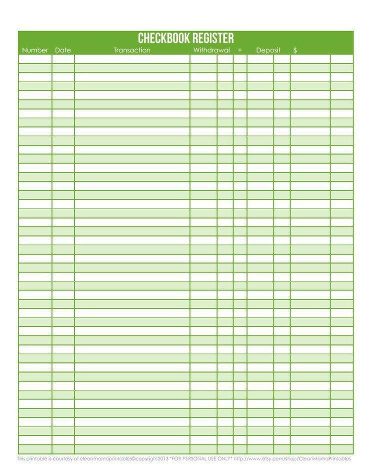 Printable Bank Ledger, printable check register sample - 9+ ...