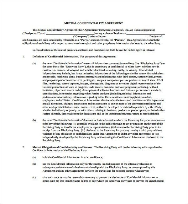 Sample Mutual Confidentiality Agreement - 7+ Free Documents ...
