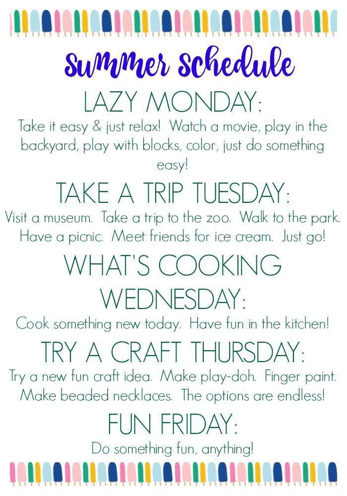 Best 10+ Kids summer schedule ideas on Pinterest | Summer schedule ...