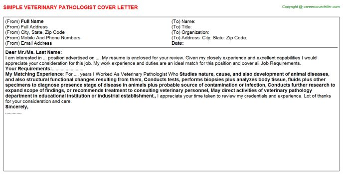 Veterinary Pathologist Cover Letters