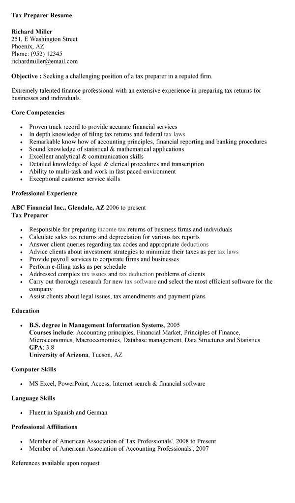 Tax Preparer Resume Sample | Experience Resumes  Tax Accountant Resume