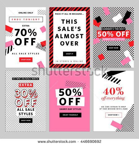 Social Media Sale Banners Ads Web Stock Vector 499612789 ...