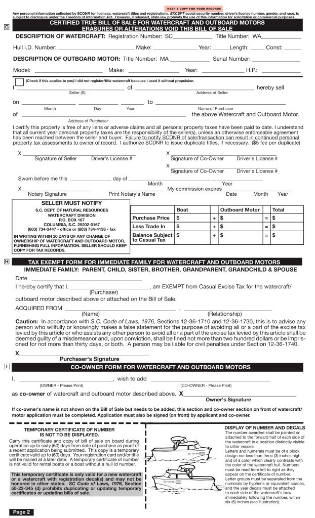 Free South Carolina Boat Bill of Sale Form - PDF | eForms – Free ...