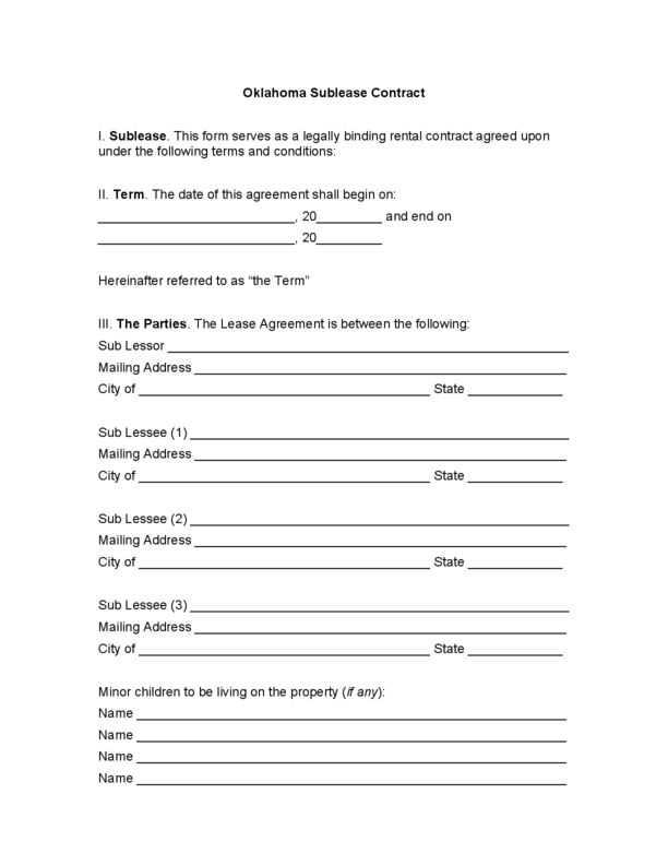 Oklahoma Rental Lease Agreement Templates | LegalForms.org