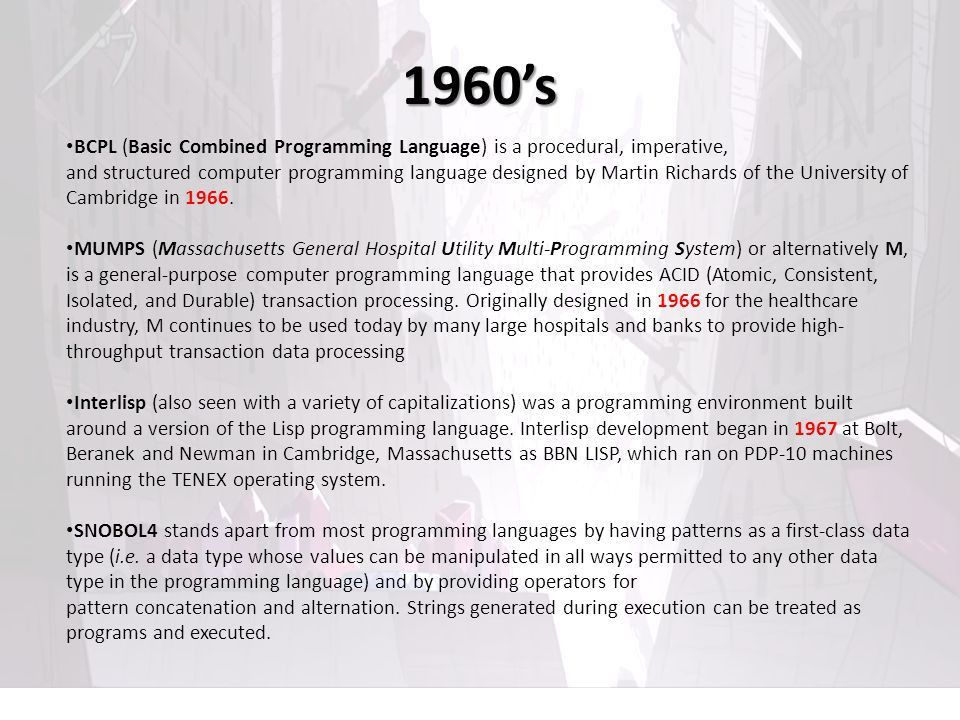 TIMELINE OF PROGRAMMING LANGUAGES Presented by: Lanz Christian ...