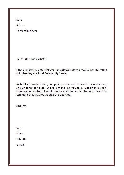 References Template For Resume. Sample Personal Reference Letter ...