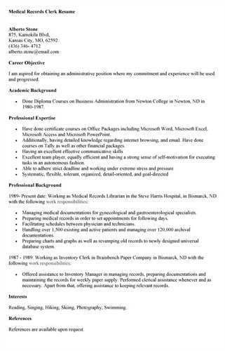 Medical Records Resume | haadyaooverbayresort.com