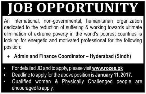 Admin and Finance Coordinator Hyderabad Jobs - All Jobs PK
