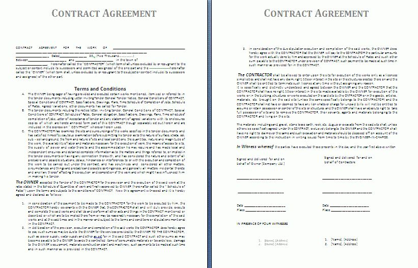 6+ Agreement Contract Template | Timeline Template