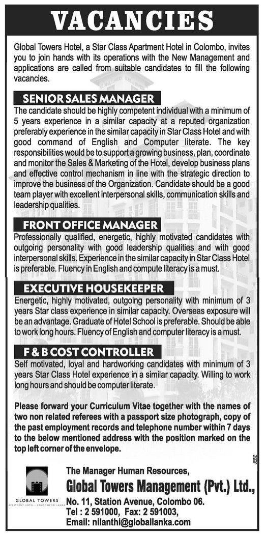 Executive Housekeeper,jobs vacancies in sri lanka, top jobs ...